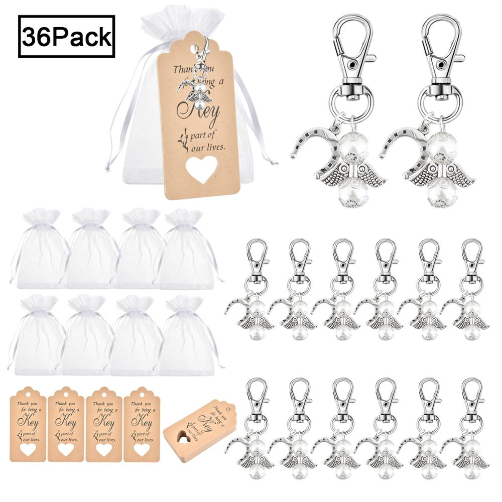 36/48 Sets Angel Keyring Key Chain Organza Bag Lucky Horseshoe Christening Wedding Party Favors Baby Shower Gifts