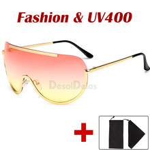 Oversize Shield Sunglasses Big Frame Alloy One Piece Sexy Co