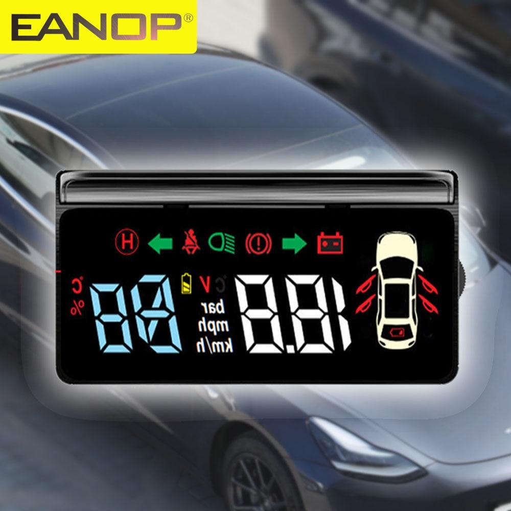 Проектор скорости EANOP HUD, транспортный датчик скорости для Tesla Model 3 S X Y, поворотный светильник, положение шестерни, аккумулятор, дисплей, сигн...