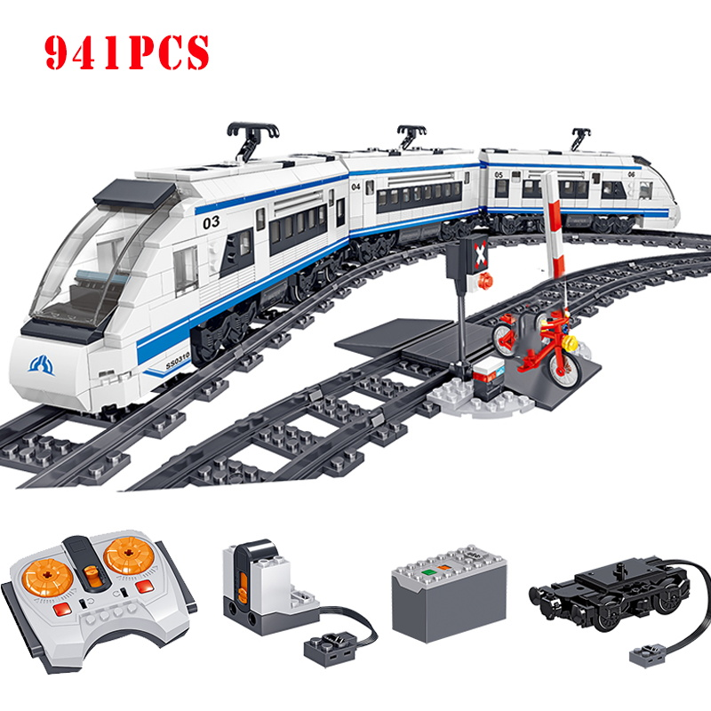 RC Battery Powered Electric City Train Harmony high-speed Rail Building Block Compatible Technic Brick Gifts Toys For Children