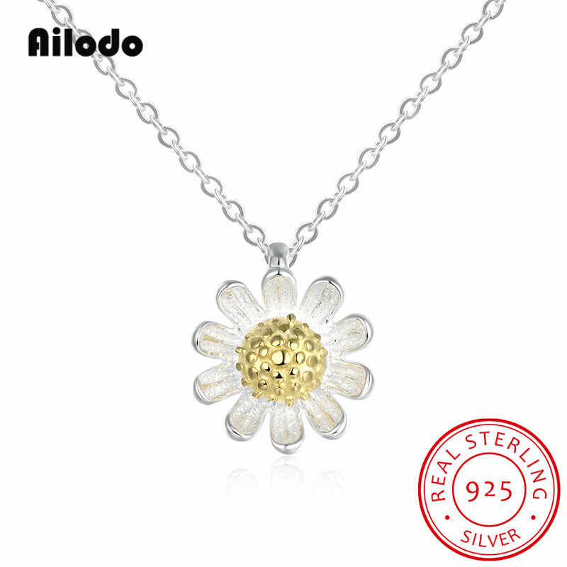 Ailodo Elegant Real 925 Sterling Silver Daisy Flower Pendant Necklaces For Women Fashion Party Wedding Necklaces Jewelry AL001