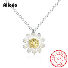 Ailodo Elegant Real 925 Sterling Silver Daisy Flower Pendant Necklaces For Women Fashion Party Wedding Jewelry AL001