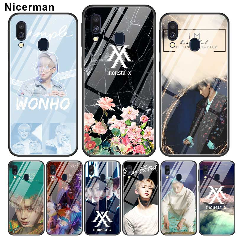 Monsta X KPOP Boy Group <font><b>Cases</b></font> For <font><b>Samsung</b></font> Galaxy A51 A50 A70 A71 A81 A10 A30 A40 A20 S <font><b>M30S</b></font> J4 J6 Plus Tempered <font><b>Glass</b></font> Phone Caso image