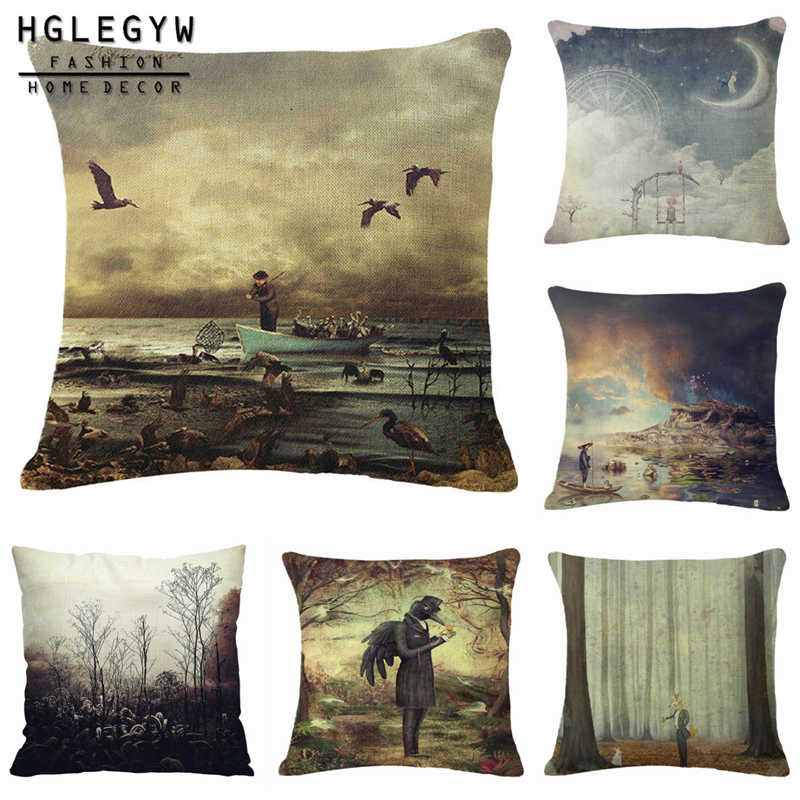 Soft Toon Stars Pillow Case Throw Pillowcase Cotton Linen Printed Pillow Covers For  Office Home Textile