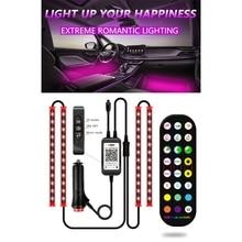 Taste + Fernbedienung + APP Control Auto Licht Streifen Bunte RGB Bluetooth Musik Lampe Bar Automobil Dekoration Licht