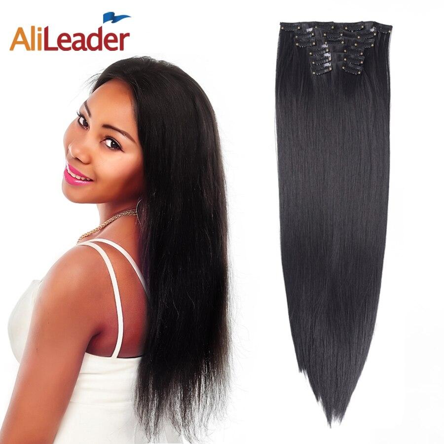 Alileader 6 шт., 56 см, 22 дюйма, длинный светильник, блонд, коричневые волосы, 16 зажимов, синтетические накладные волосы, зажим для наращивания волос