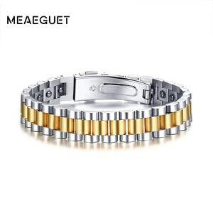 Image 1 - Firmy zegarków opieki zdrowotnej hematytu energii moc mężczyzna dorywczo biżuteria Hombre mężczyzn ze stali nierdzewnej bransoletka