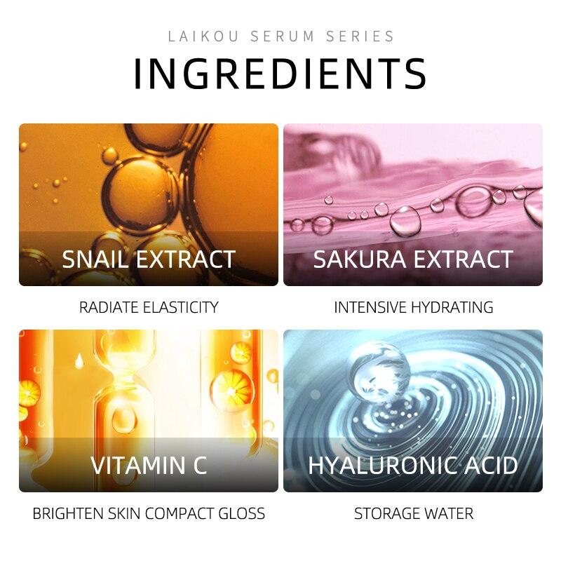 Laiko 4 Bottles Gold Snail Sakura Hyluronic Acid Vitamin C Serum Anti Aging Skin Whitening Japan Essential skin Care Face Serum