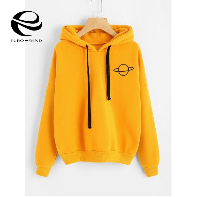 Plus Size Women Hoodies Print Casual Solid Loose Drawstring Sweatshirt Fashion Long Sleeve Hooded 2019 Autumn Female Pullover