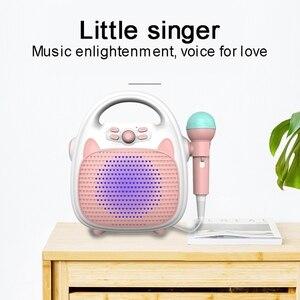 Alto-falante portátil do bluetooth da máquina de karaoke das crianças superiores com microfone dos desenhos animados cantando alto-falante para crianças karaoke cantar