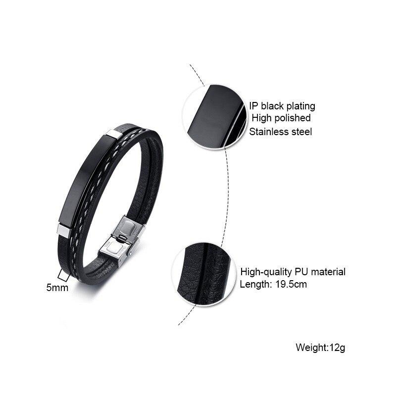 Double Chains Men's Black Leather Bracelet