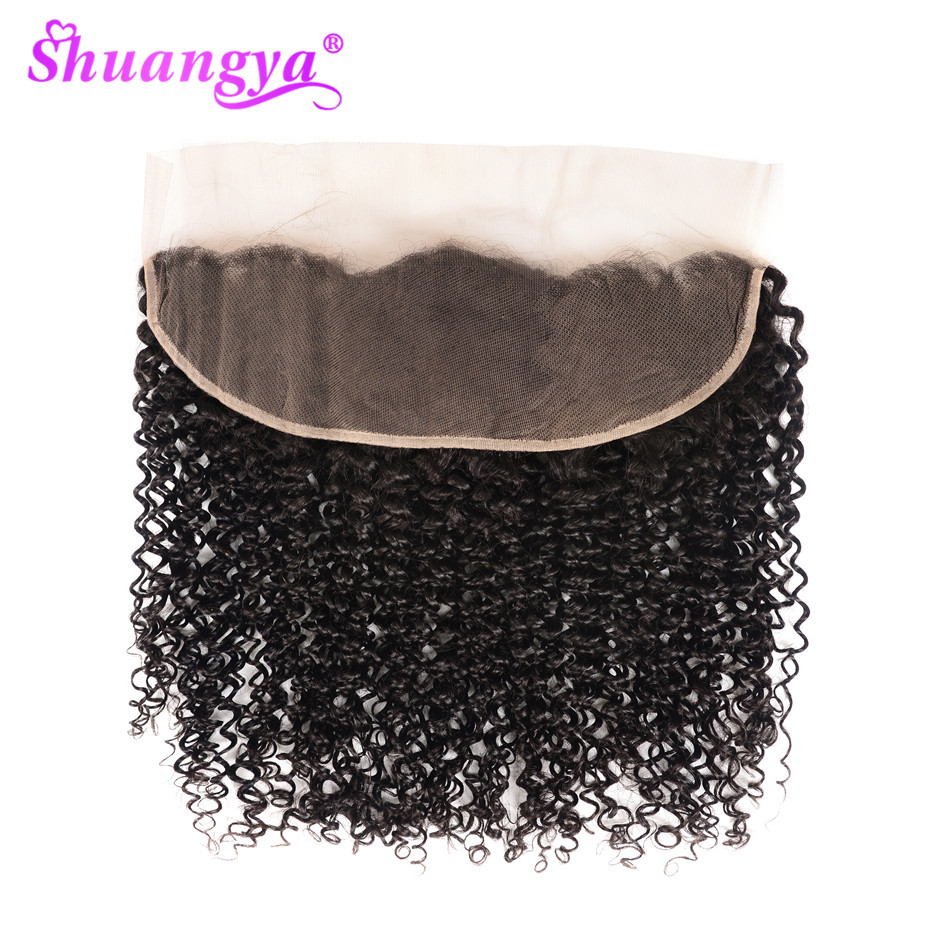 Shuangya Hair Lace Front Closure 100% Human Hair Lace Frontal Brazilian Kinky Curly Hair Remy Frontal Closure 8-20 Inch Closure