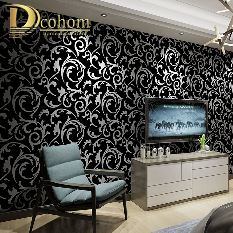 Black White 3D Victorian Damask Embossed Wallpaper Roll Home Decor Living Room Bedroom Wall Coverings Floral Luxury Wall Paper