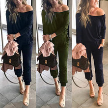 One Off Shoulder Pockets Sexy Jumpsuit Women Long Sleeve Piece Outfit Streetwear Rompers Casual Solid Overalls
