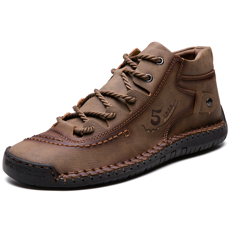 2019 Men Winter Boots Warm Leather Casual Shoes Soft Sole Comfortable Man Flat Boots For Outdoor Driving Big Size 38-48
