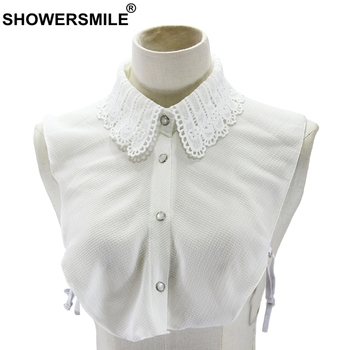 SHOWERSMILE White Detachable Collar Women Chiffon Lapel Fake False Ladies Solid Lace Elegant Female Spring Shirt