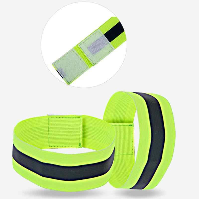Pair Sport Running Safety Reflective Arm Band Belt Strap Night Glowing Wristband