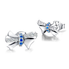 New arrival 925 sterling silver bow Stud Earrings with CZ fashion jewelry accessories small earrings for women anniversary gifts