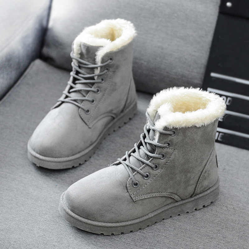 Snow Boots 2019 New Mid-Calf Boots Ladies Cotton Winter Boots Women Warm Fur Women Shoes Winter Women'S Boots Lace Up