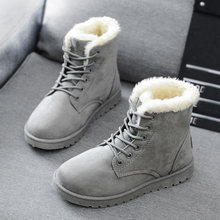 Schnee Stiefel 2019 Neue Mid-Kalb Stiefel Damen Baumwolle Winter Stiefel Frauen Warme Pelz Frauen Schuhe Winter Frauen Stiefel lace Up(China)