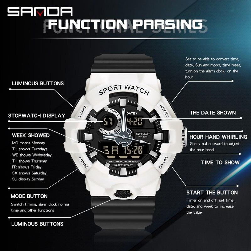 Top marque montre numérique hommes de luxe antichoc chronomètre montres SANDA marque électronique montre-bracelet hommes horloge alarme rappelant 2