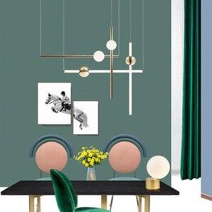 Image 3 - ما بعد الحداثة الفن تصميم الذهبي قلادة Led أضواء الإبداعية طويل عصا السرير نوبل غرفة المعيشة فندق قاعة شنقا تركيبات إضاءة