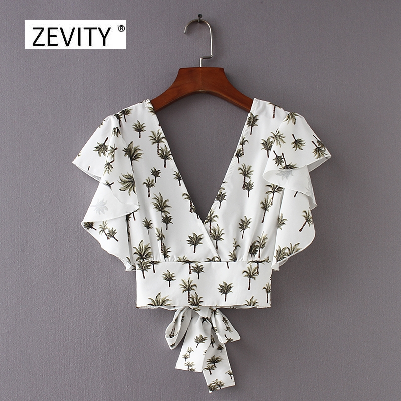 2018 Women Vintage Butterfly Sleeve Printing Ruffles Blouse Sweet Back V Bowknot Elastic Shirt Chic Femininas Blusas Tops LS2403