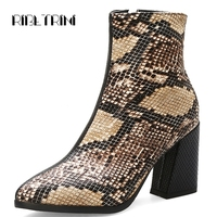 RIBETRINI Top Quality Patent PU Snake Prints Ankle Boots Women Luxury Shoes Women High Heels Club Evening Ankle Boots Size 32 43