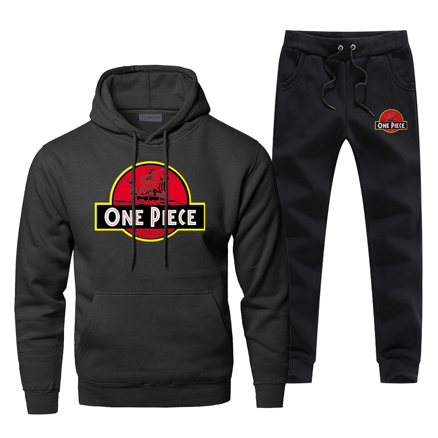 Funny Japanese Anime One Piece Hoodies Pants Sets Men Fashion Print Monkey D. Luffy Hip Hop Streetwear Sweatshirts Sportswear