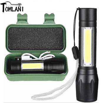 2300LM COB LED Flashlight Built-in Battery USB rechargeable Q5+COB 3modes torch Camping light Zoomable Waterproof Read Latern image
