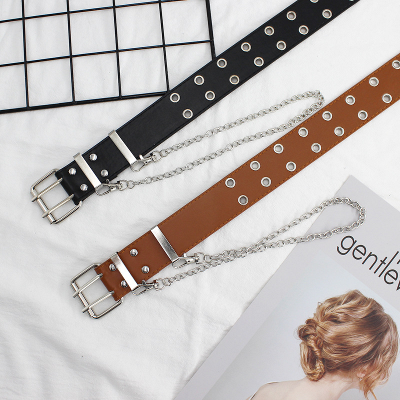 Fashion Belt Punk-Chain Eyelet Grommet Adjustable Women Double/single Black