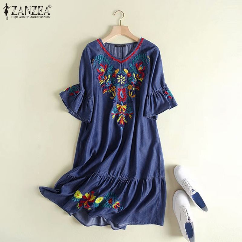 ZANZEA Women Dress Printed Floral Denim Thigh Length Embroidery Mini Dress Baggy