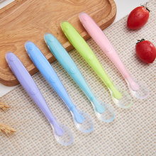 Baby Silicone Spoon Long Handle Nylon Temperature Resistance 80 Degrees Celsius Reduce Overturning Baby Silicone Spoon wh111a 1a 142 horizontal 4 feet b11k potentiometer resistance angle of 60 degrees handle length 17 5mm
