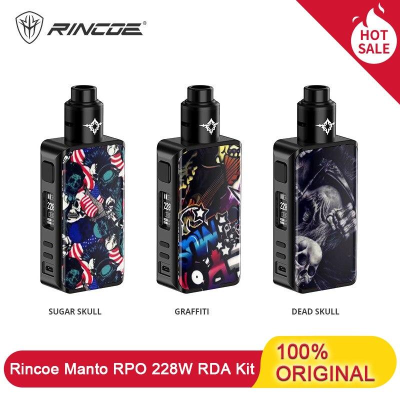 Cigarette électronique Rincoe Manto Pro Vape Kit 228W alimenté par double 18650 Batteries avec Metis RDA réservoir Pc matériel E Cig Kit