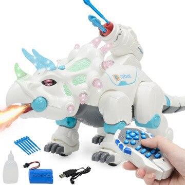 Model Dinosaur Toy Model New Style Smart Atomization Spitfire Dinosaur Remote Control Electric Triceratops CHILDREN'S Toy