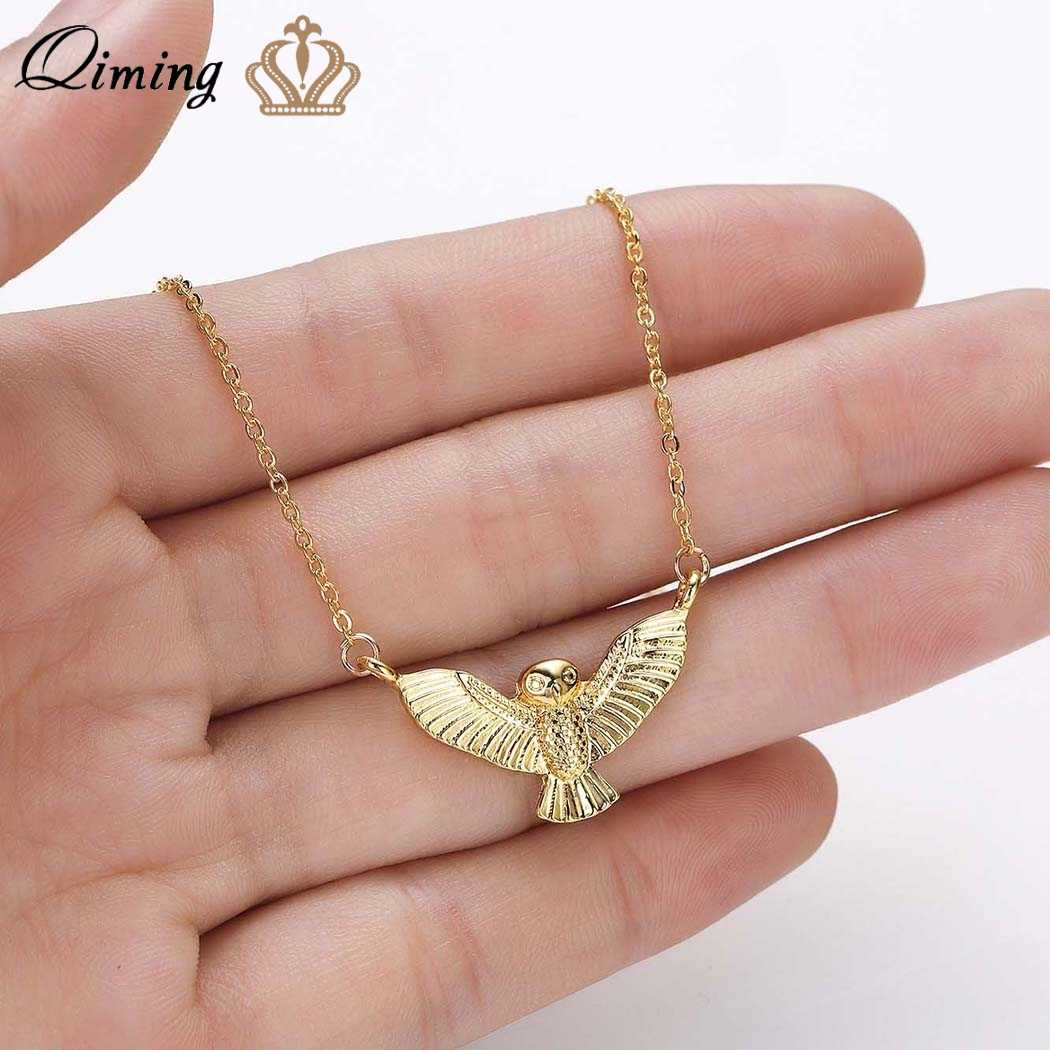 QIMING Eagle Bird Hawk Owl Men Necklace Vintage Punk Jewelry Accessories Statement Fashion Jewelry Animal Women Necklace