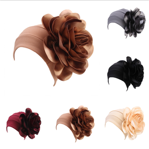 Image 5 - Clearance Big Flower Turban Head Covers Women Muslim Chemo Cap Bandanas India Hat Mujer Ladies Wedding Party Hair Accessories