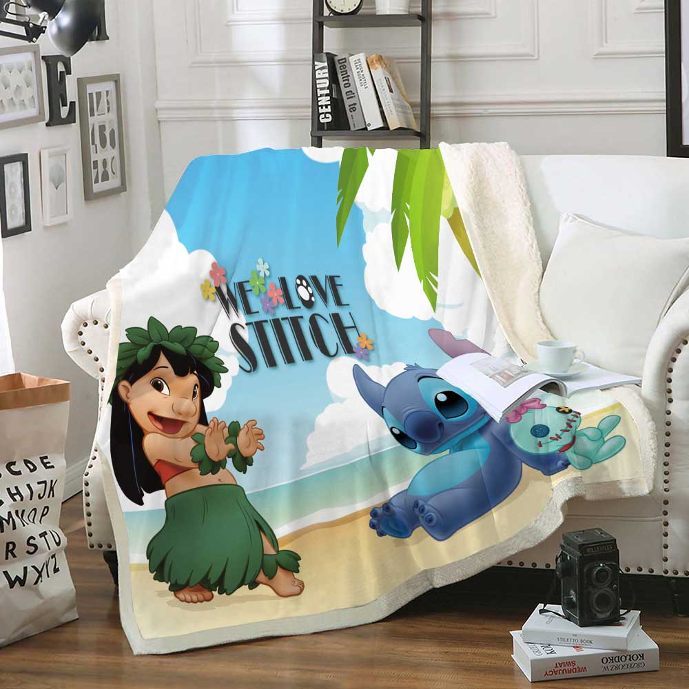 Comfortable Soft Blue Blanket with Disney 3D-printed Cute Carton Stilch Pattern for Boys and Girls Sofa Bedding Home Textiles