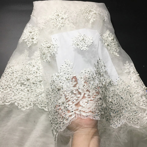 Image 4 - Off White Beaded Lace Fabrics African Lace Fabric 2020 High Quality Lace With Stones, French Nigerian Lace Fabrics for Wedding