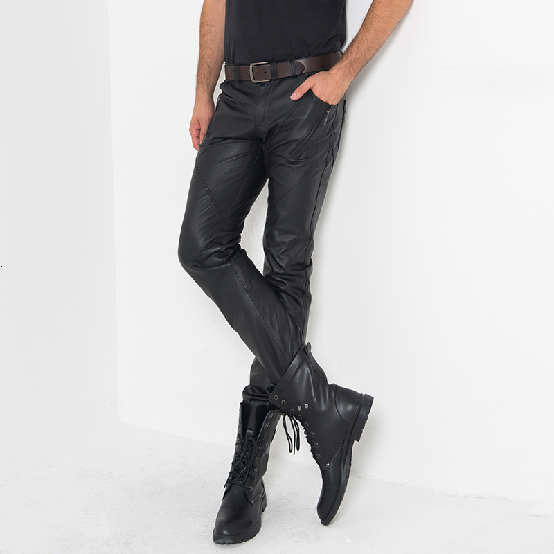 Real Leather Full Length Pants Men Streetwear High Street Casual Motor Slim Skinny Trousers Classic Punk Style Fashion Calca Man