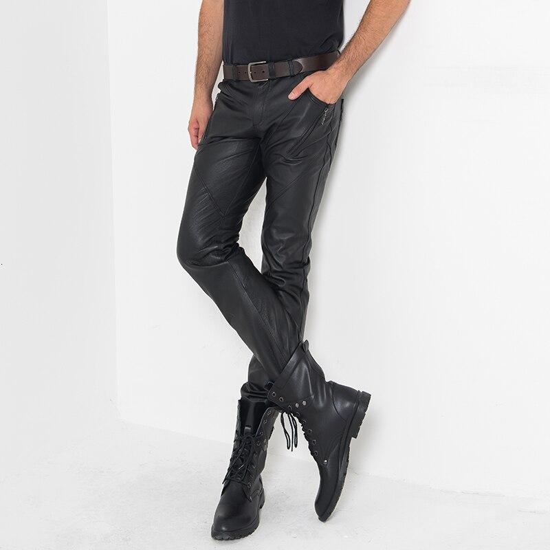 Véritable cuir pleine longueur pantalon hommes Streetwear haute rue moteur décontracté mince maigre pantalon classique Style Punk mode Calca homme