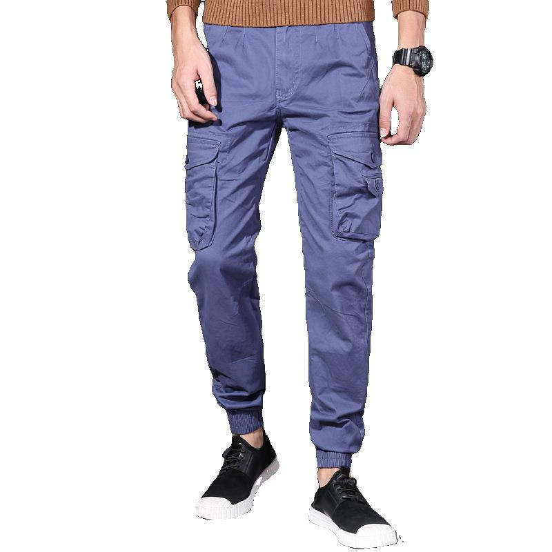 Men Japanese-style Thin Capri Casual Bib Overall Teenager Camouflage Beam Leg Harem 9 Pants 691