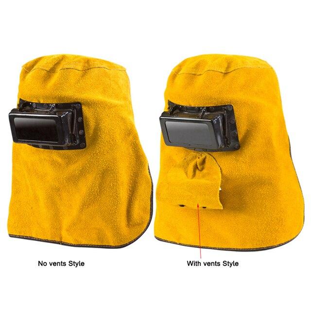 Cowhide Welding Hats Auto Dimming Lens Welding Mask Fire Flame Retardant Helmet Face Protection Hood welding shield Welder Cap