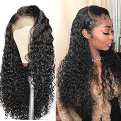 Curly Human Hair Wig Deep Wave Frontal Wig 13x4 Lace Front Human Hair Wigs Brazilian 30 inch Deep Wave Wig Transparent Lace Wigs