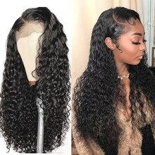 Onda profunda perucas 13x4 encaracolado onda de água frente do laço perucas de cabelo humano para preto feminino glueless brasileiro remy encaracolado perucas de cabelo humano