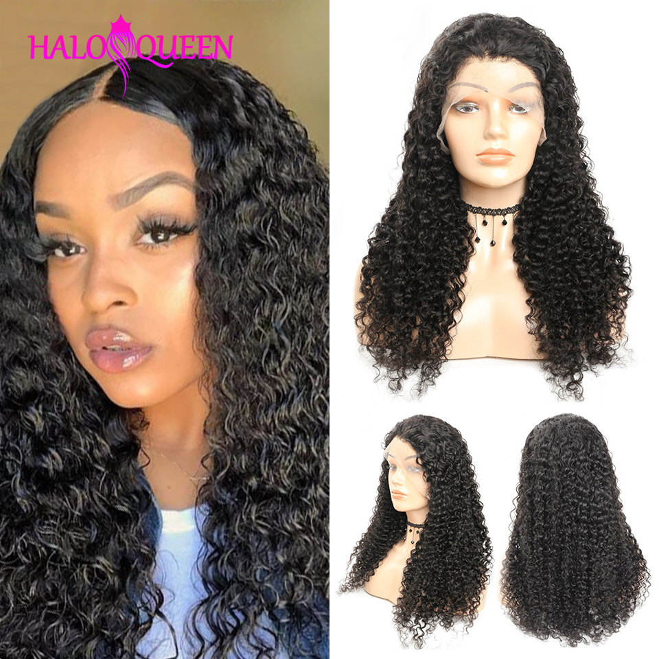 HALOQUEEN Lace Frontal Wig Kinky Curly Closure Indian Human Hair Wigs Pre-Plucked 8-24 Inch Non Remy Human Hair