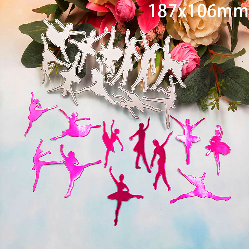 11Pcs Dance Girl Metal Cutting Dies Ballet Dancer Stencil For DIY Scrapbooking Paper Card Decorative Craft Embossing Die