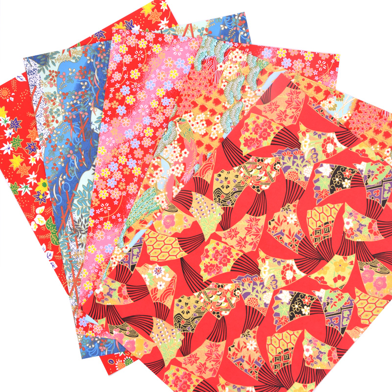 Origami japonés Chiyogami Yunzen papel, papel artesanal serigrafiado a mano para caja de envoltura de regalo muñeca decoración