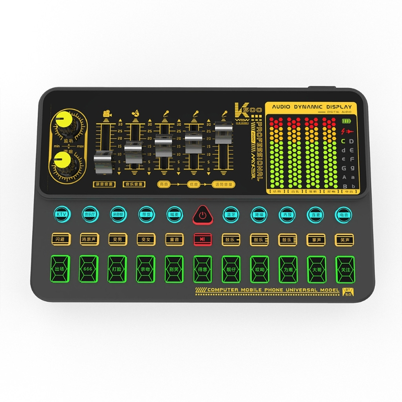 Live Sound Card Mini Sound Mixer Board for Live Streaming Portable Bluetooth Voice Changer Sound Card Retailsale