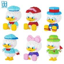 330pcs+ Cartoon Building Block Duck Mini Figure Cute Funny Mirco Diamond Bricks Model Toys Children 7131A